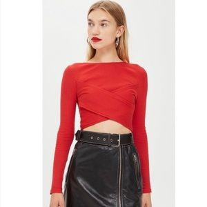 Topshop Wrap Ribbed Cropped Top